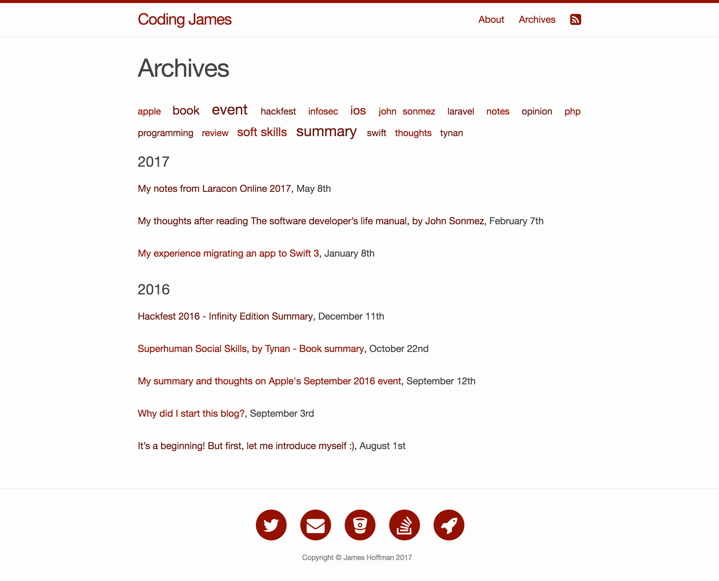 Jekyll Archives page design