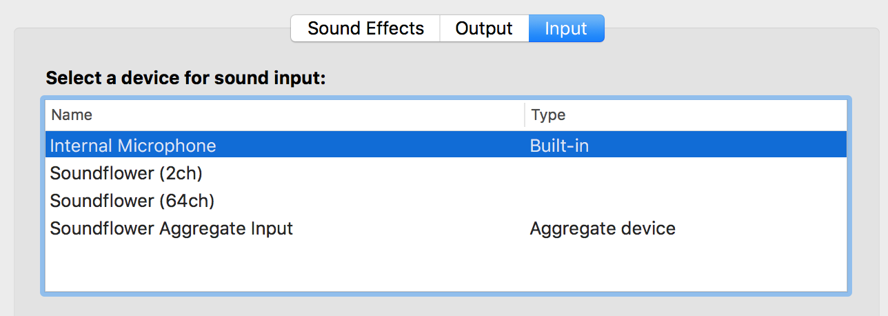 Soundflower input devices visible in System Preferences