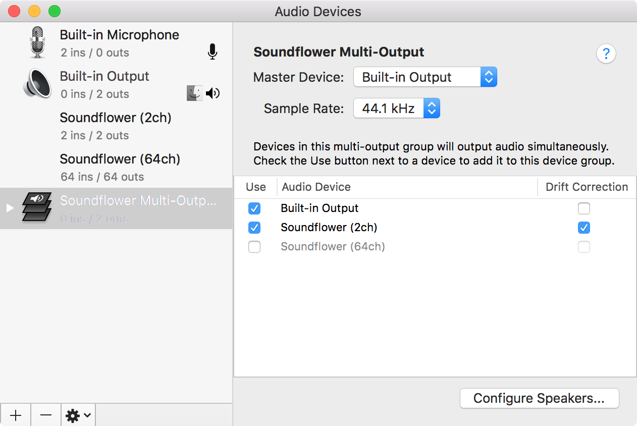 Soundflower devices visible in System Preferences