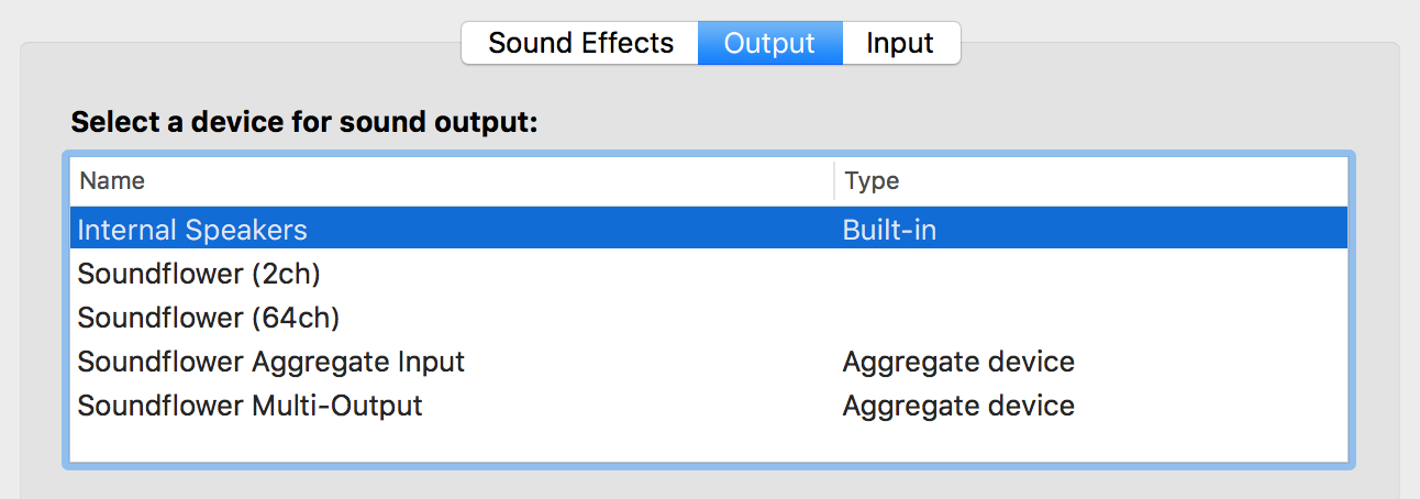Soundflower output devices visible in System Preferences